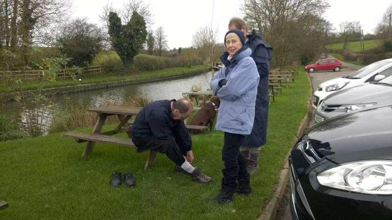 Rotary Walk from the Admiral Nelson in Braunston - and dons his walking boots.