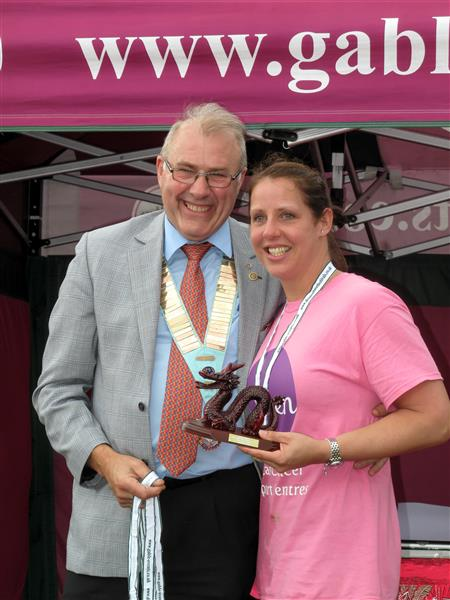 Wakefield Chantry Dragon Boat Race - DG Phil present Mandy with The Winners Trophy
