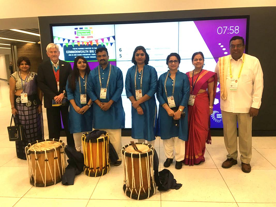 Rotary & The Commonwealth - Tree Planting & Drumming for Peace - Chenda Drummers are ready for their Morning Welcome performance for Delegates attending the Commonwealth Heads of Government Forums on Tuesday 17th April 2018