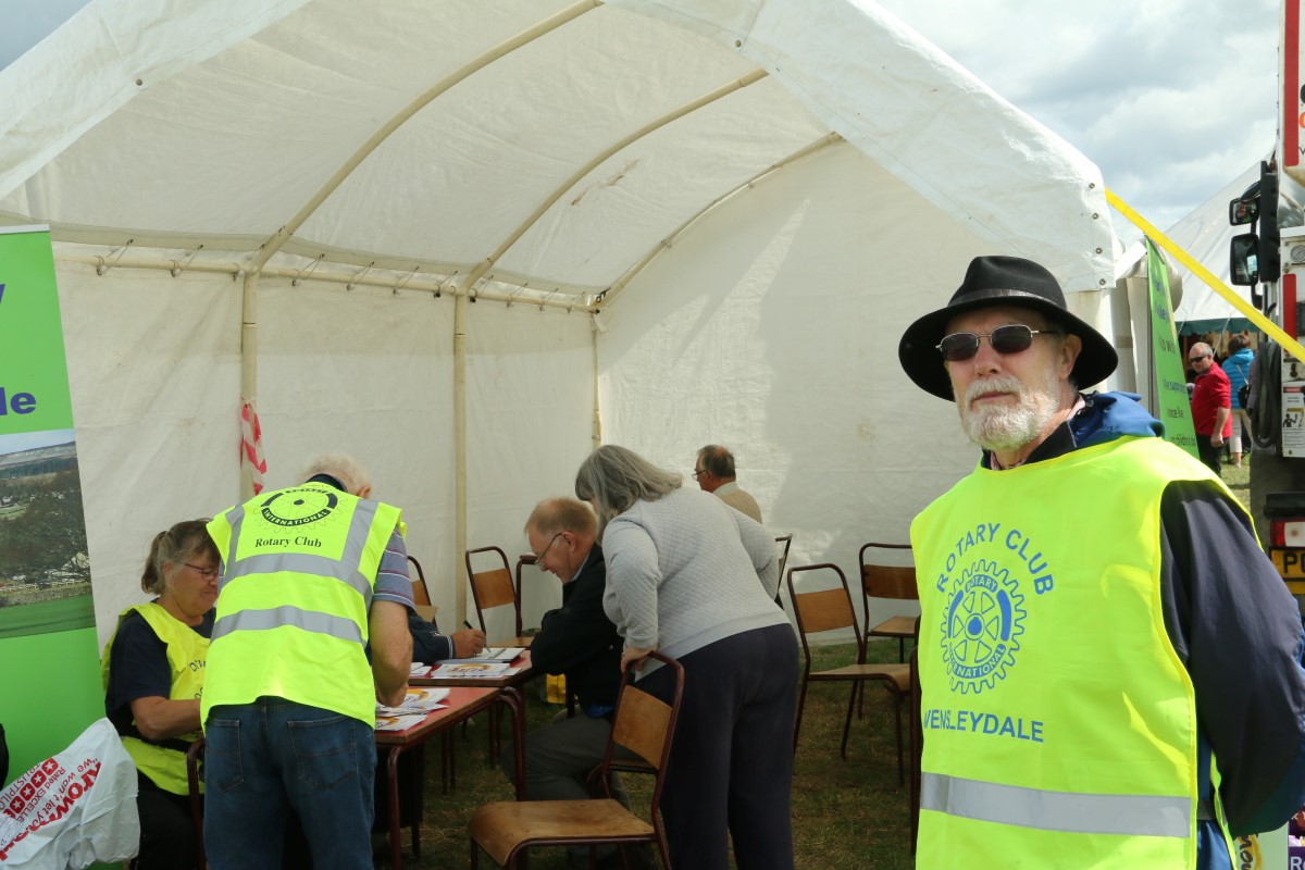 Blood Pressure Screening at Wensleydale Show 2018 - President David invites people into the tent