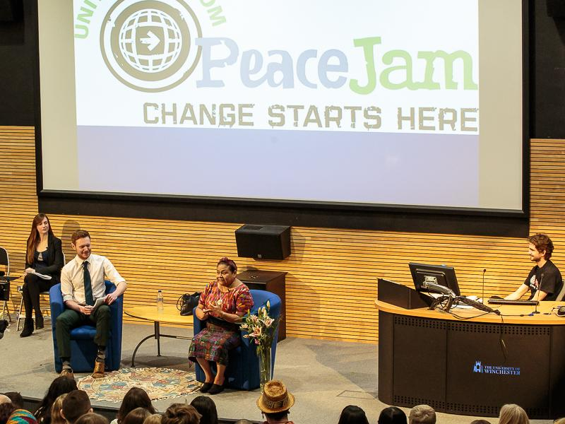 PeaceJam 2016 UK Conference - With the help of two translators, both Masters students from Bath University