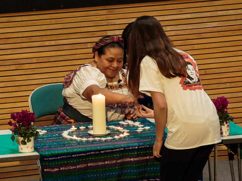 PeaceJam 2016 UK Conference - A candle is lit to mark the personal statement