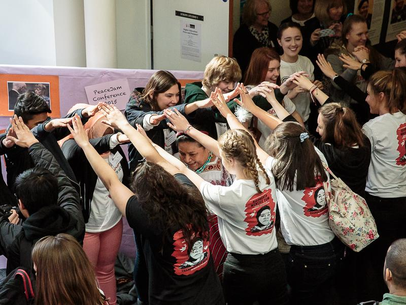 PeaceJam 2016 UK Conference - Mobbed by the Jersey girls!