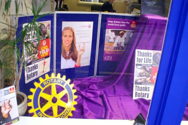 We're for Communities - Our display for End Polio Now month in Phonus' window