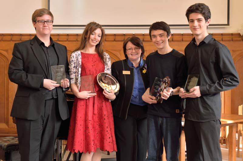 Robert wins RIBI Young Musician!   - Magnus from Glasgow, Isabelle, Donna, Robert and Marcus from Bishop Stortford