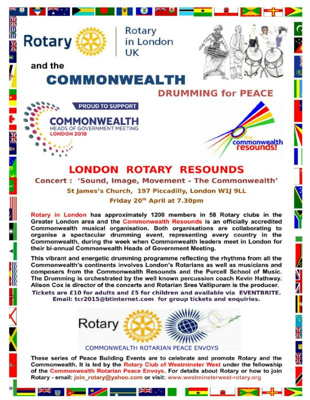 Rotary and The Commonwealth - Tree Planting and Drumming for Peace - Concert : Sound, Image, Movement - The Commonwealth. Performance by young people at St James's in Piccadilly - 20th April 2018