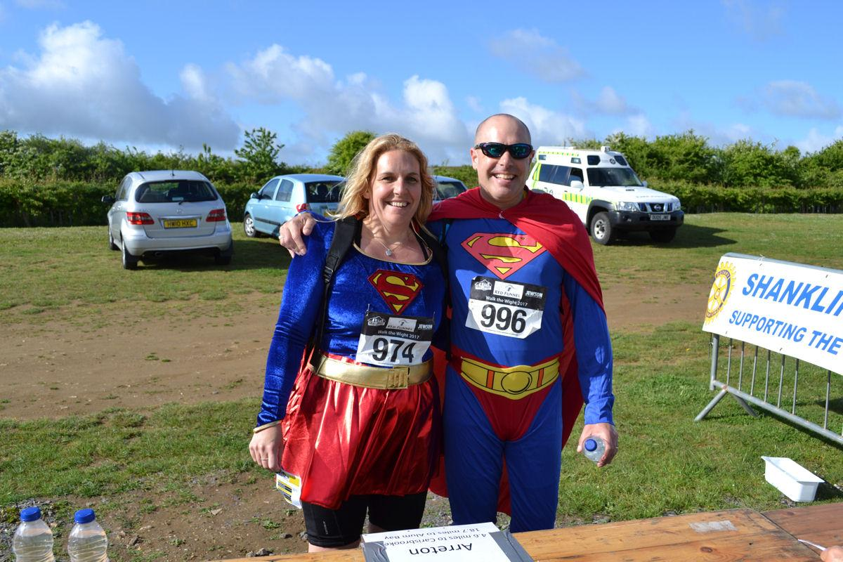 Walk the Wight 2017 - Mr & Mrs Superman on the way to the 'Fortress of Solitude', oh no - Carisbrooke Castle!