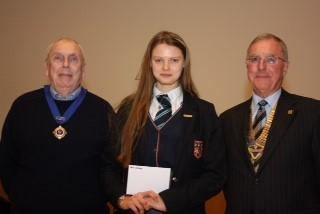 Picture Gallery - Best speaker, Alice Grundy with Deputy Mayor Cllr Keith Parker and Rotary President Alan Lewis