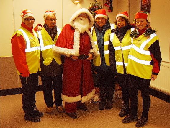 Santa's Visit to Eccleshall area December 2017 - The Yarnfield Crew ready for a cup of tea and a mince pie