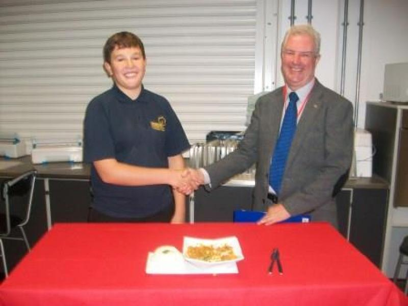 Young Chef Competition 2015 - Melksham Rotary is proud to support Alistair Smith as our winner of the Oak School hear for the Rotary Young Chef competition.  Alistair made a very imaginative Fish Curry, beating 8 other competitors from the school.