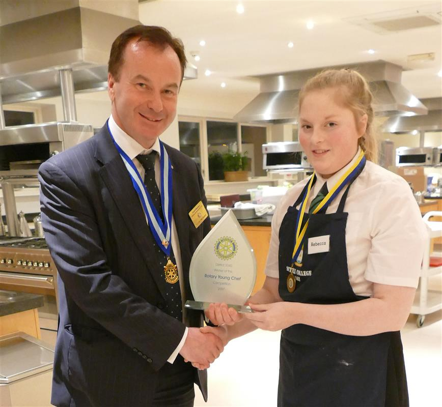 Young Chef District 1040 Final 2017 - Rotary District 1040 Governor Elect Robert Morphet presenting the trophy to Young Chef winner Rebecca Hulse, aged 15, from Settle