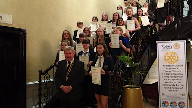 Rewarding Young Citizens - Award winners with our President Mark Wainwright