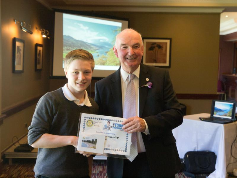 Young Photographer Competition 2013 - Winner Euan Kennedy receives his prize and certificate from President Iain Gow