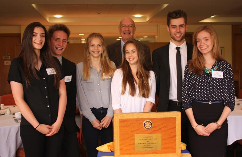 Youth Speaks 2015 - Izzy, Tiaran, Chloe, Rebekah, Tyrone & Hannah with Rotarian Steve