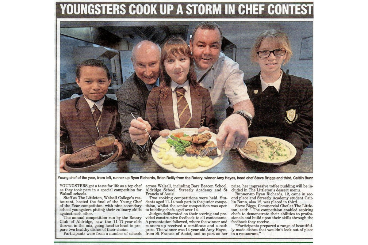 Youth Activities & Competitions - Young chef newspaper