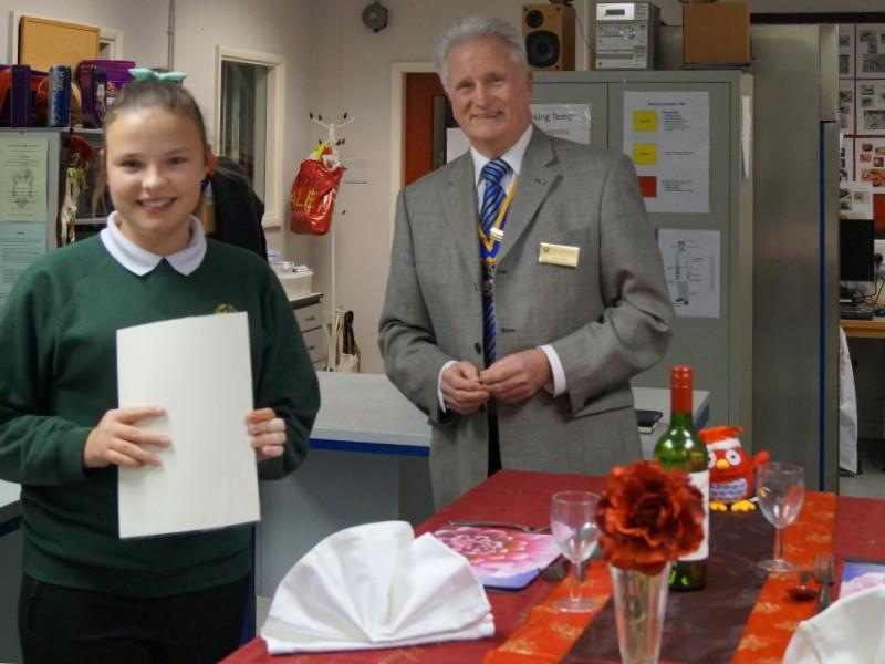 2015 Rotary Young Chef Competition - President Ray presents the certificates.