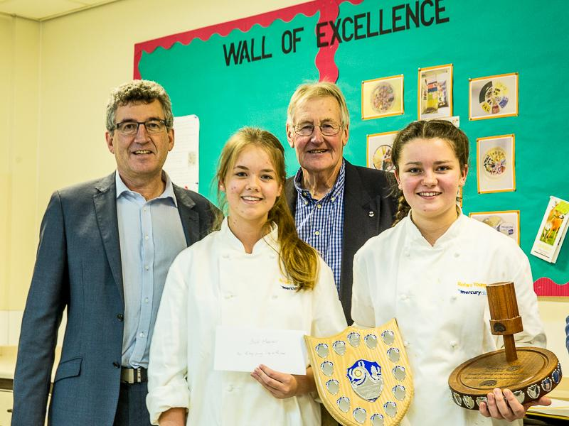 Rotary Young Chef 2015-16 - Jersey Final January 2016 - Eamon Fenlon, Sophie Walker winner Tastiest Dish prize, Bob Marshall and Megan McDonagh Rotary Young Chef of the Year