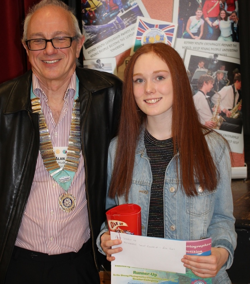 Rotary Young Photographer - Rose receiving her certificate and prizes from 2017-18 District Governor Alan Hudson.