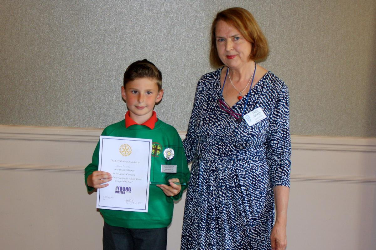 Young Writer Competition - Zach Scerri -District winner in the junior category