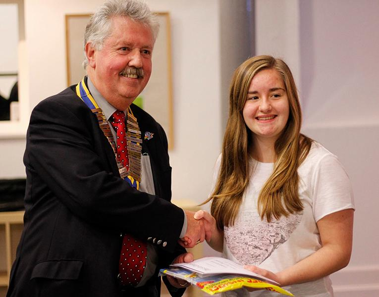 Rotary Young Photographer 2015 - Charlotte receiving her prize as winner