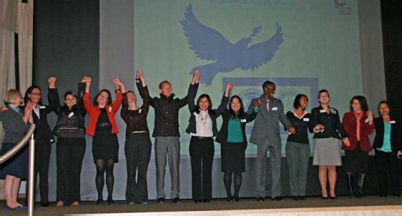 Oct 2012 Rotary Peace Seminar - Bradford University - Yr 11 scholars with host Chris Bown