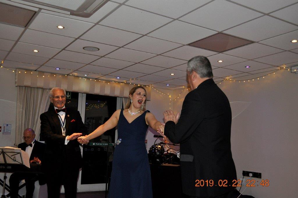 2019 - President's Party Night - Elinor and two members enjoying every minute of the evening