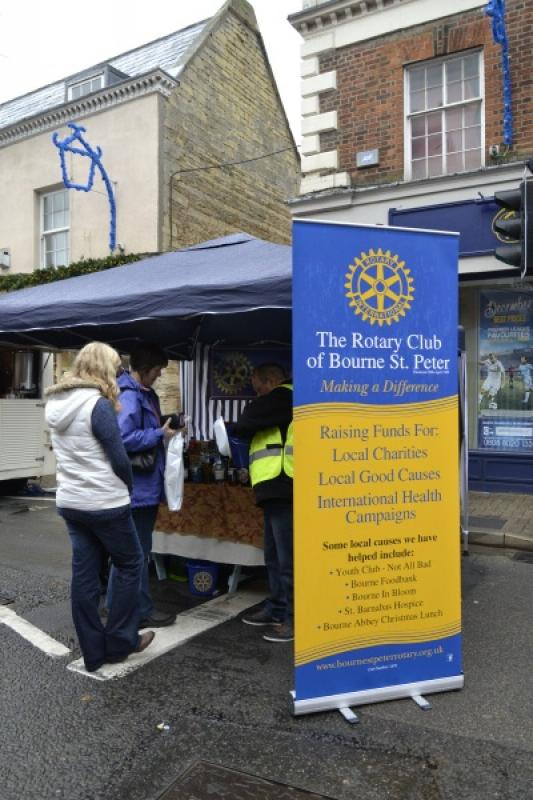 Our Tombola stall at the Bourne Christmas Market on 29th November 2014 -