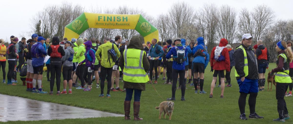 Imber Ultra Marathon - The runners, marshals and others gather before the commencement of the 2019 race