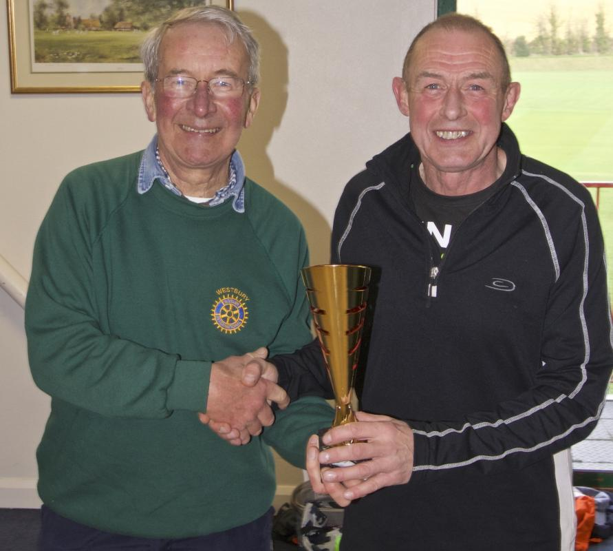Imber Ultra Marathon - David presenting a trophy to the winner of one the men's categories.