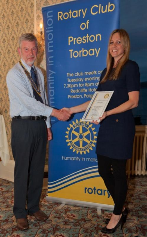 Archive Pictures 2012-2013 - Lydia Stone receiving her 'Friend of Preston Rotary' certificate