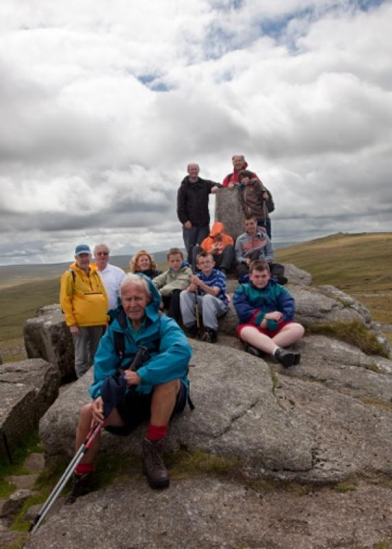 Archive Pictures 2012-2013 - Club members and young carers enjoying a walk on Dartmoor and looking forward to a barbecue on their return