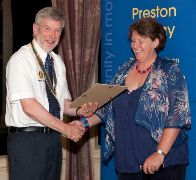 Archive Pictures 2012-2013 - Lesley Williams receiving her 'Friend of Preston Rotary' certificate