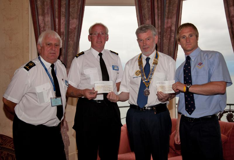 Archive Pictures 2012-2013 - President Tony with National Coastwatch and Torbay Lifeboat representatives presenting cheques from Charity Golf Day at Dainton