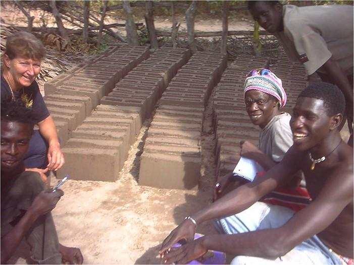 Bantaba Project  - Rose with local volunteers – all bricks have to be made by hand.