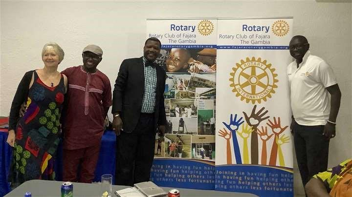 Bantaba Project  - Irene Childerley with members of the Rotary Club of Fajara. Far right is Minyan Jobe, past assistant governor of the Rotary of the West Africa District