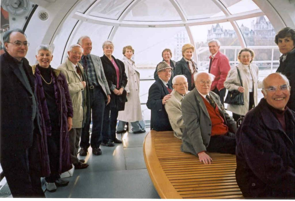 Club Members - Club members and partners enjoy a trip on The London Eye in 2001.