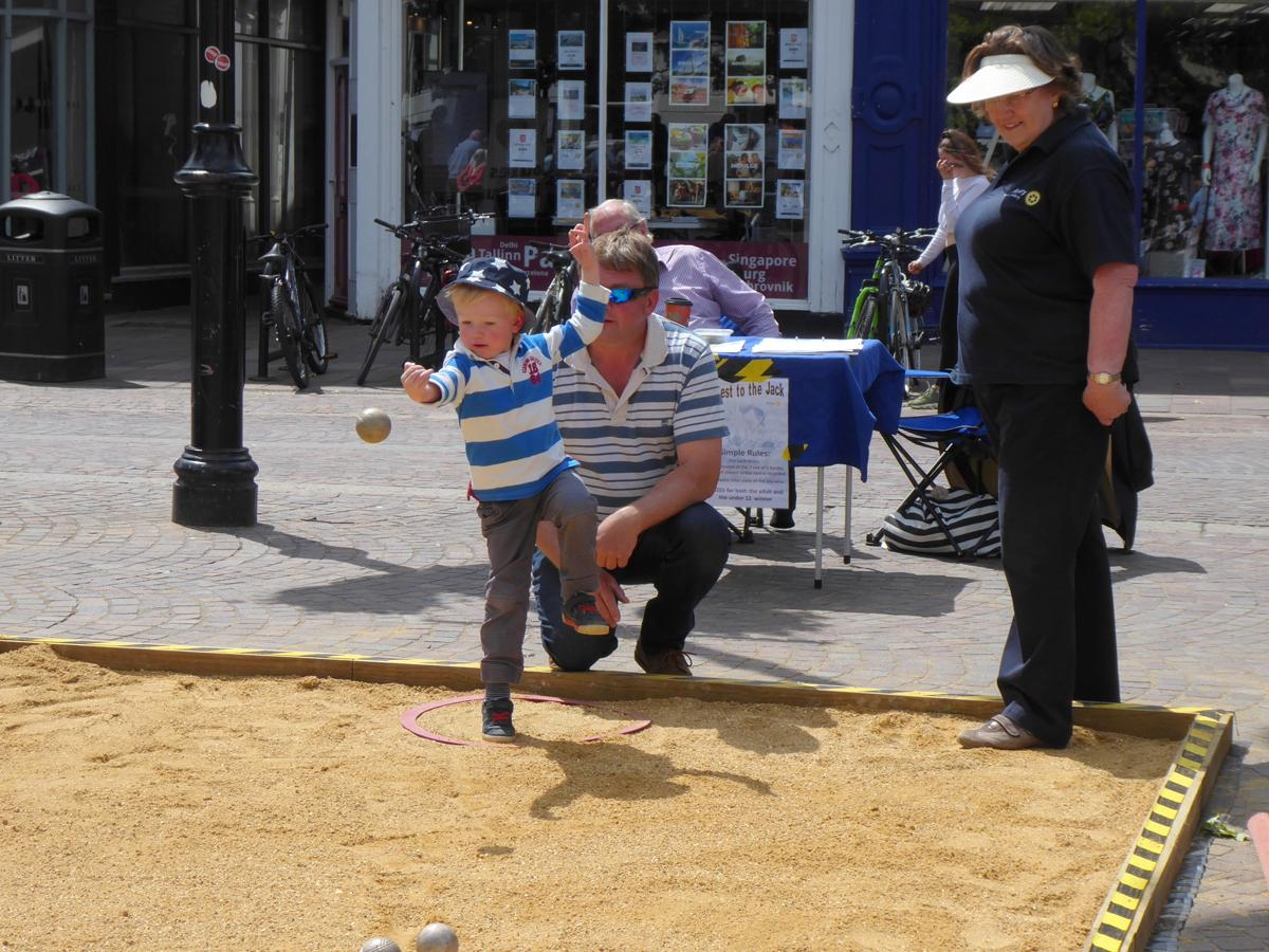 Boules in the Square 2019 - Showing off the new, now not so secret, one legged throwing technique.