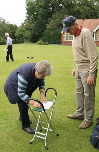 Bowls match - Ann completing the paperwork