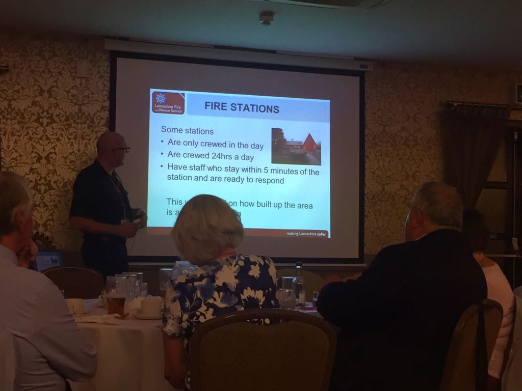 Exchange Visit to Carnforth Rotary - The presentation by Lancashire Fire and Rescue