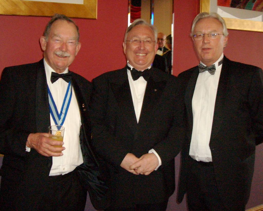 Charter Night 2008 - L-R PDG Harry Pease with Rotarians Alex Thomson & Howard Callow