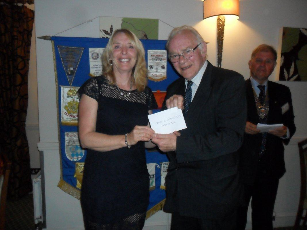 Cheque Presentation Dinner - 15th Sept 2016 - Caroline Kew from MS - Area East receives their cheque
