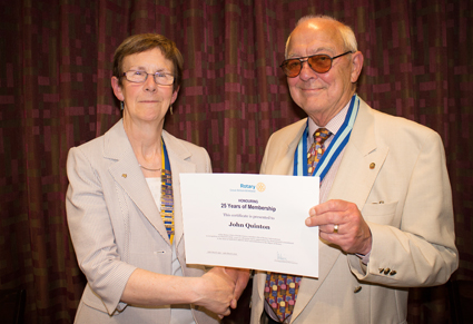 Presidential Handover - John Quinton, Past District Governor, received a certificate marking 25 years of service to the Club.