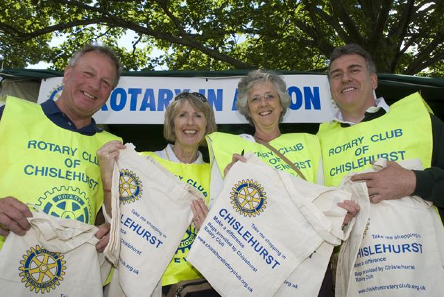 About Our Club - Chislehurst Rotary Club members, selling sustainable jute bags to raise funds for local good causes