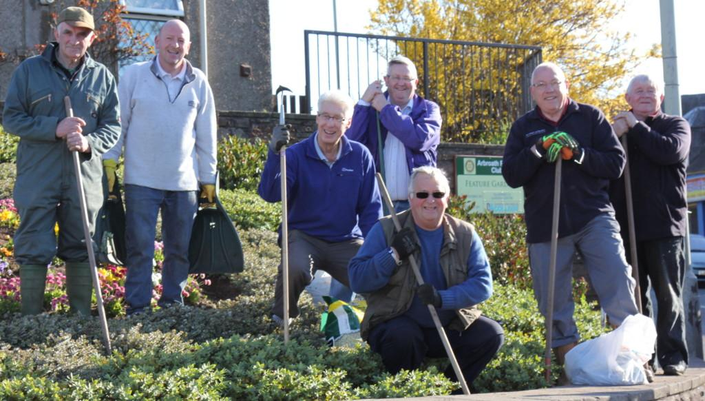 Club Photo Gallery July 2015 to June 2016 - Members donned gardening clothes and tools and carried out some maintenance at the Club's Public Garden feature in Fisheracre in May 2016