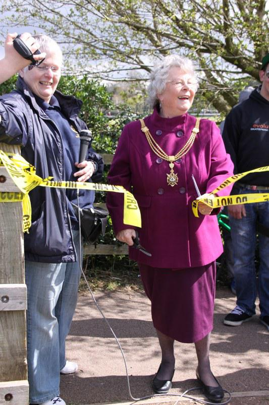 Wells Skate Board Park Re-Opening Ceremony - cutting-the-ribbon
