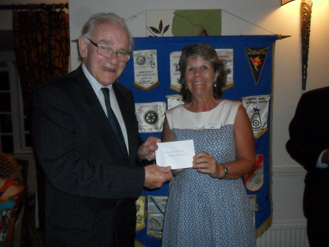Cheque Presentation Dinner - 15th Sept 2016 - Debbie de Boltz from Farleigh Hospice receives their cheque
