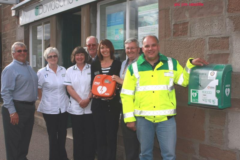 Club Photo Gallery July 2015 to June 2016 - In August 2015 the Club commissioned a 4th Automatic External Defibrillator (AED) at Davidsons Chemists in Friockheim
