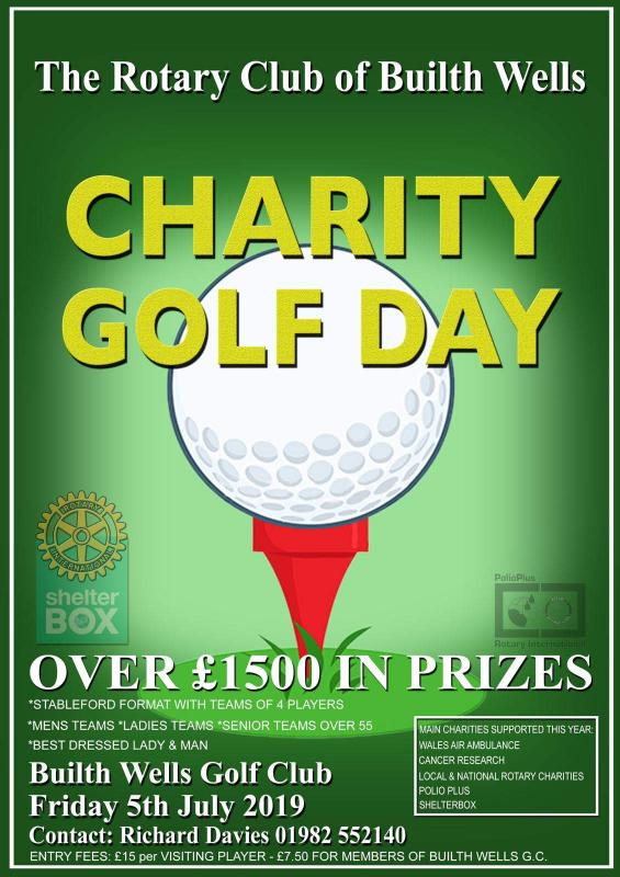 A ROTARY CHARITY GOLF DAY at BUILTH WELLS GOLF CLUB - Builth Wells Rotary Charity Golf Day. Friday July 5th 2019