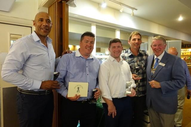 Reading Abbey Rotary Club Charity golf day - Club President Colin Maclean presenting trophies to the winning teams