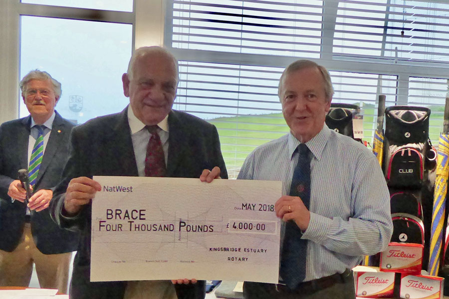 2018 Charity Golf Day - Donation of Cheque to Peter Lippett Trustee of BRACE, a charity funding Research into Alzheimer's with Steve Kerr, President of Kingsbridge Estuary Rotary Club